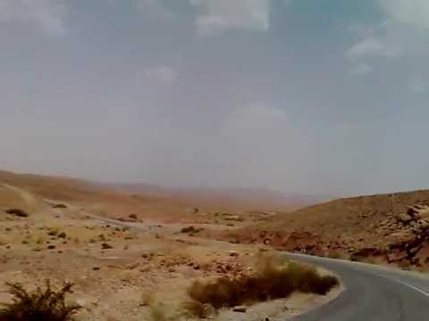 Driving desert mountains Mars landscapes out of Ouarzazate south Morocco