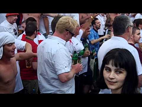 "England fans singing ""Ten German Bombers"", Kiev, Ukraine, 24.06.2012"