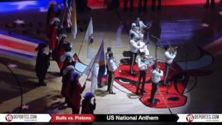 US National Anthem Chicago Bulls vs Detroit Pistons Mariachi Monumental de Mexico