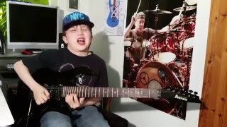 """Dustin Tomsen 11 year old covers Vinnie Vincent """" Back on the streets"""" guitar solo"""