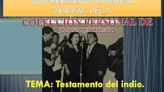 HERMANOS VALENCIA - TESTAMENTO DEL INDIO (78 R.P.M. - 195_?)