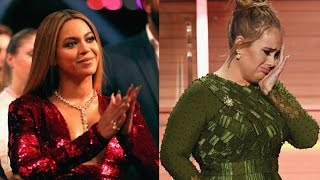 Adele Dedicates Her GRAMMY Album of the Year Win to Beyonce Makes Herself and Bey Both Cry