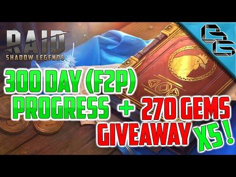 RAID: Shadow Legends | 300 Day F2P Progress !! | 5x 270 GEMS GIVEAWAY !!
