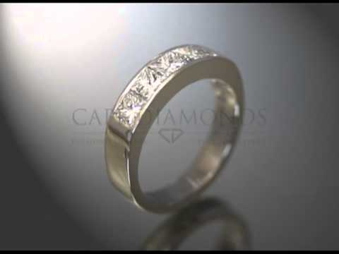 Eternity ring,5 diamonds,bold band,platinum,engagement ring
