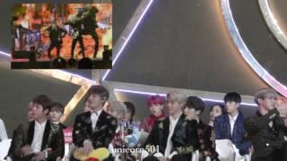 170114 bts seventeen reaction to Hard Carry Golden Disc awards2017