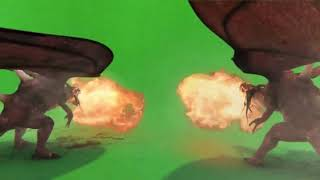 GREEN SCREEN FOOTAGE DRAGONS FIRE 3D ANIMATION