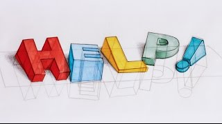 How I draw 3D text - HELP, I'M SINKING! - 3D typography process
