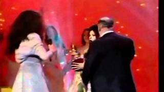 Dana International falls during the Eurovision Song Contest 1999