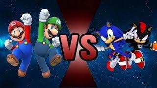 MARIO and LUIGI VS SONIC and SHADOW! (WWE 2K17 Cartoon Battle #33)