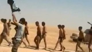 Islamic State militants march Syrian soldiers in their underwear 'to execution' width=