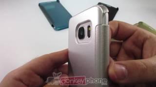 Funda Premium Flip Cover S-View y Estilo Wallet para Samsung Galaxy S7 y S7 Edge
