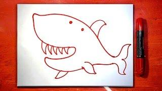 Красная Акула, рисуем маркером
