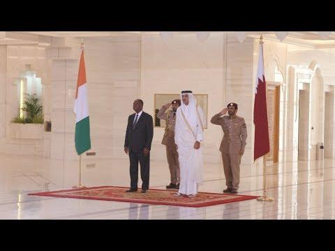 Rencontre avec Son Altesse Sheikh Tamim Bin Hamad Al Thani, Emir du Qatar au Palais de l'Emir