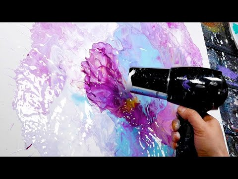 Acrylic Pour Abstract Painting with Posca Marker | Nyx