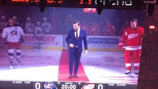 Henrik Zetterberg drops puck in ceremonial faceoff at Red Wings season-opener