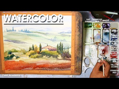 Watercolor Landscape : Italy Summer Countryside