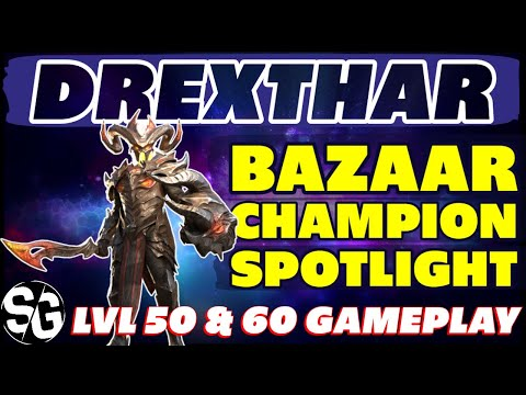 DREXTHAR BAZAAR spotlight 50&60 gameplay NO BOOKS Raid shadow Legends + REWORK IDEAS