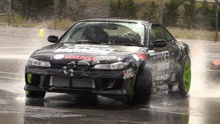 Nissan Silvia S15 Fun on a Wet Car Park – SR20DET Engine w/ GREAT Turbo Sounds