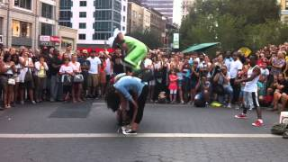 guy doing front flip over six people