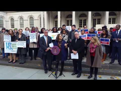 OTPS Rally 12/1/16 - Comptroller Scott Stringer, Councilmember Helen Rosenthal, Allison Sesso