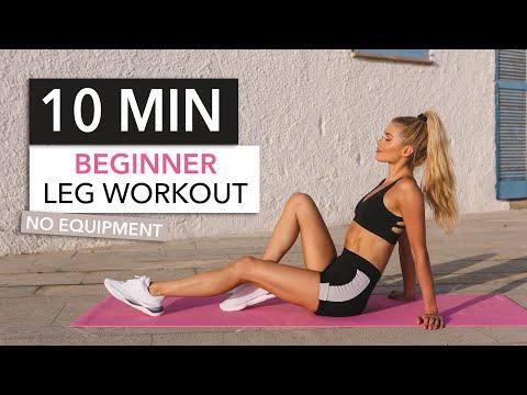 10 MIN BEGINNER LEG WORKOUT - with breaks / booty, thighs & hamstrings / No Equipment I Pamela Reif