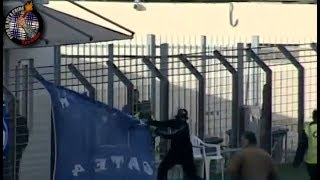 OFI hooligans  stealing Chania banners  (21.04.18) //  Pyro-Greece