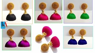 How to make silk thread jhumkas // making of simple and easy jhumkas at home width=