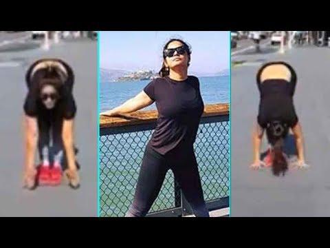 Hot Neetu Chandra Performing Sensuous Yoga in Public