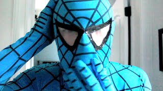 The Amazing Blue Spiderman! Real Life Superhero!