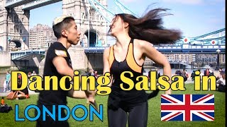 Dancing Salsa at London Bridge Tower - salsacolombia cali style