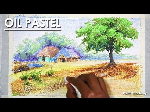 Landscape Drawing in Pastel - Old Village | step by step in Oil Pastel