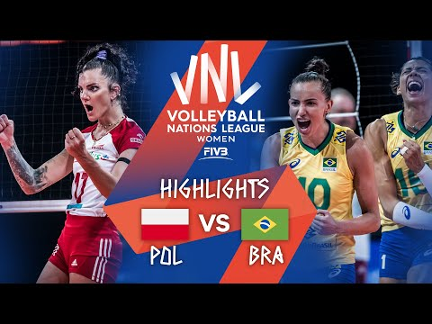 Poland vs. Brazil - FIVB Volleyball Nations League - Women - Match Highlights, 12/06/2021
