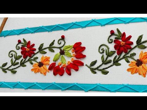 Amazing & easy silk ribbon embroidery * Border design for silk ribbon