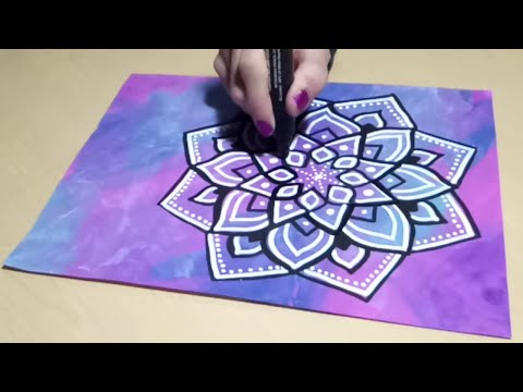 Drawing a Mandala Doodle with Paint Markers on Painted Paper