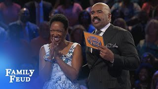 MRS JONES got a GOOD THING going on! | Family Feud