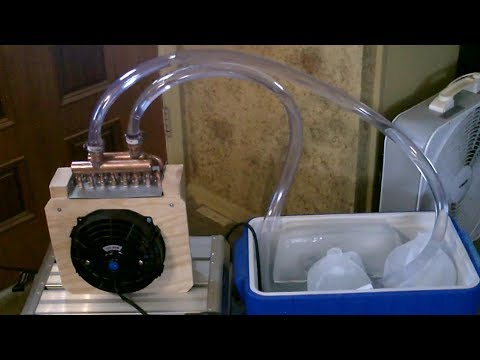 "DIY ""Water-Chilled"" Radiant Air Cooler! Powerful!  Uses 8x8 Heat Exchanger w/fan! EZ AC! Solar Pwrd!"