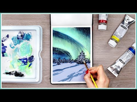 How to Paint the Northern Lights with Acrylic Paint // Art Journal Thursday