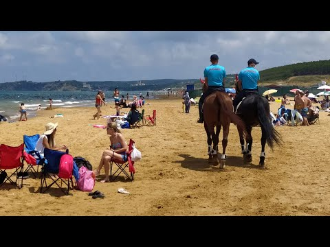 Plajda atlı jandarma denetimi