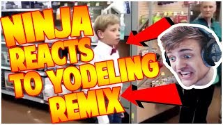 NINJA REACTS TO YODELING KID REMIX! (Funny Fortnite Moments)