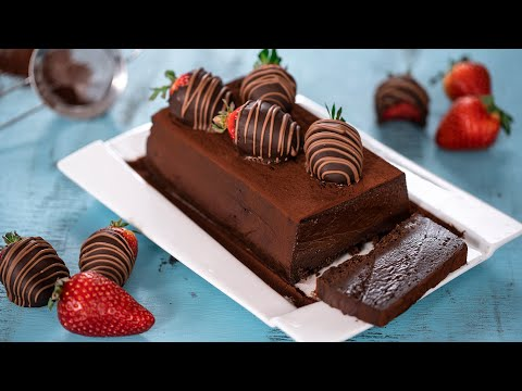 Chocolate Terrine with Chocolate Covered Strawberries