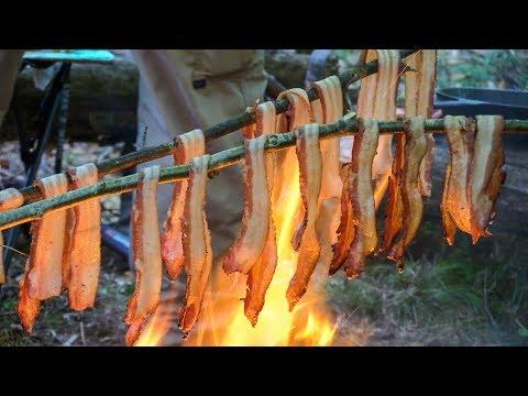 Bushcraft MeatFest! - Ribeye Steak, Bacon, Chicken Thighs, Cheesburgers, Field Garlic Wild Edible