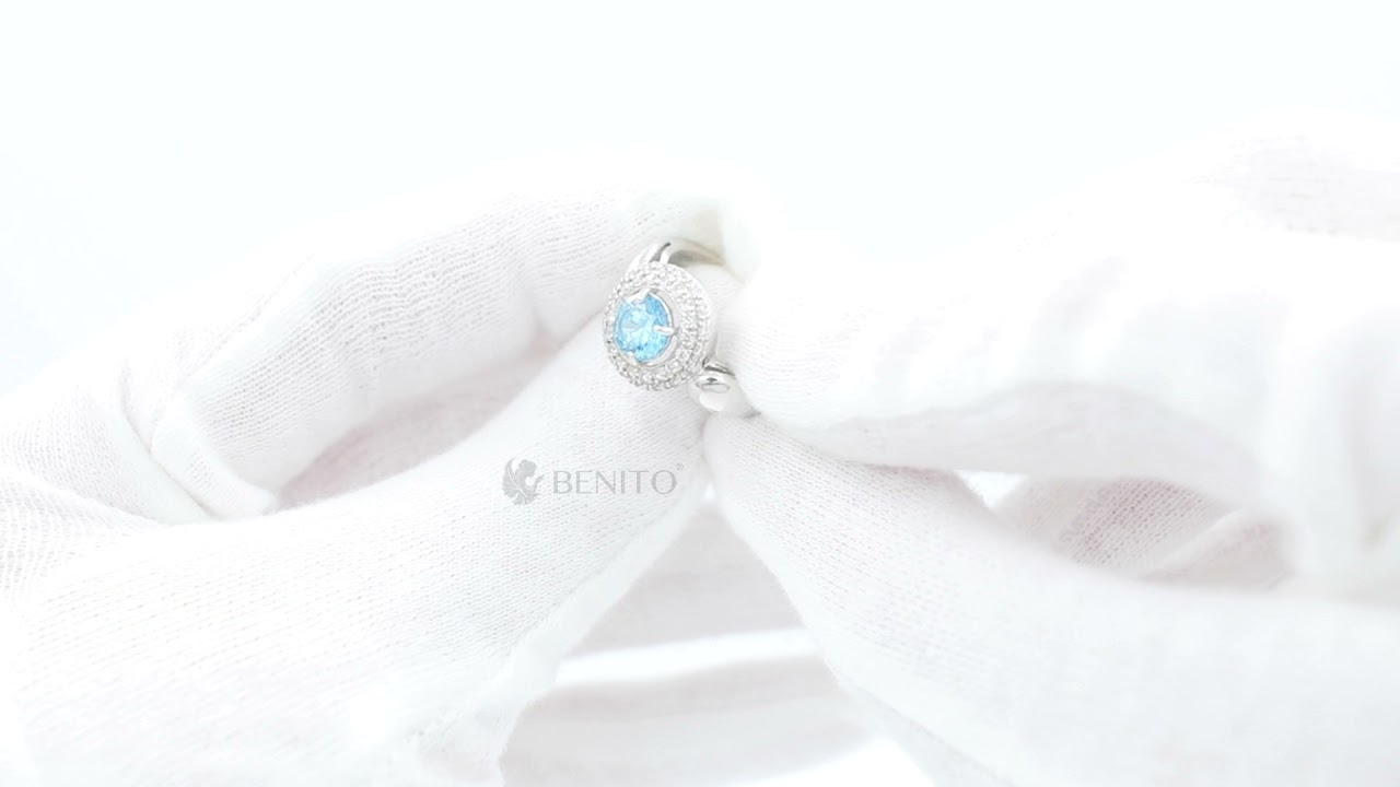 Laura Ring Teal and White Zircon Stones