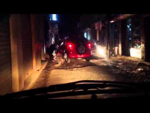 Taxi through Thamel, Kathmandu, Nepal