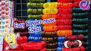 12 Easy old bangles reuse ideas | waste bangles craft ideas | Best out of waste | Artkala 324 width=