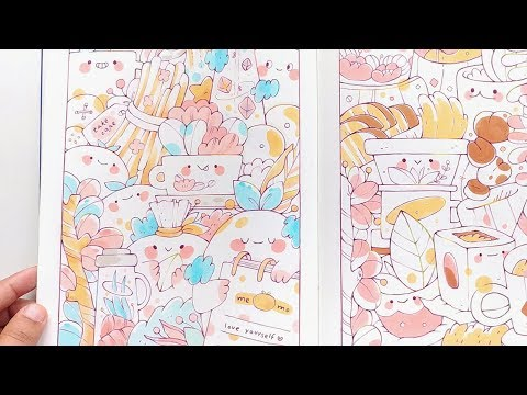 100 Cute Doodles | 100 Coloring Pages Sketchbook Flip Through