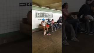 Cover Of Say Something (I'm Giving Up On You) by Silvia Jhony in New York City Subway