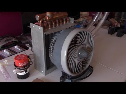 DIY Large Area Air Heater! Heat Ex. w/Quiet AC Fan! (10 MPH breeze!) hi-temps! 25K BTU Poss. Ez DIY