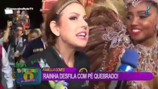 Rainha de bateria Pâmella Gomes desfila mesmo com dedinho do pé quebrado
