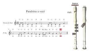 Flauta de Bisel (ou flauta doce) - Parabéns a você