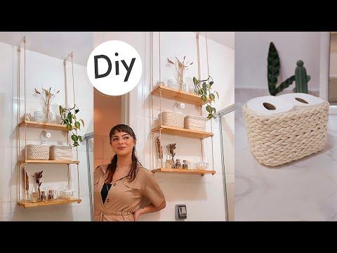 DIY Prateleira de Corda + Cestos Organizadores - Decorando o Banheiro 01